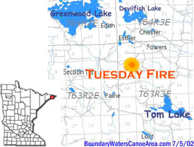 Tuesday Fire between Tom and Greenwood Lakes - near the BWCA